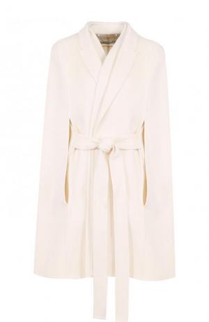 Укороченное кашемировое пальто с поясом и кейпом Givenchy. Цвет: белый