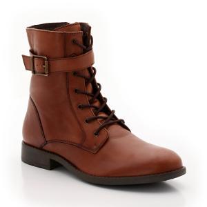 Ботинки кожаные со шнуровкой R kids. Цвет: карамель,черный