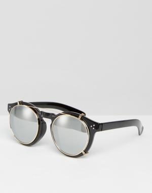 Jeepers Peepers Круглые солнцезащитные очки с зеркальными стеклами. Цвет: черный
