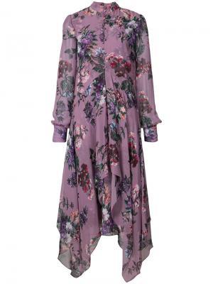 Платье с цветочным принтом Erdem. Цвет: розовый и фиолетовый