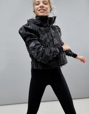 ASOS 4505 Спортивная куртка со светоотражающим принтом и объемными рукавами. Цвет: черный