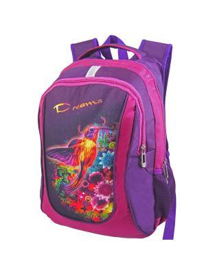 Портфель ученический Stelz. Цвет: темно-фиолетовый, желтый, фуксия