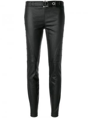 Байкерские брюки с поясом Versace Jeans. Цвет: чёрный