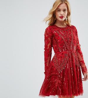 A Star Is Born Petite Короткое приталенное платье с декоративной отделкой и длинными рукавам. Цвет: красный