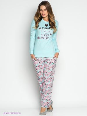 Пижама CATHERINE'S. Цвет: голубой, розовый, серый