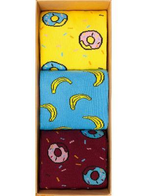 Набор Завтрак Симпсона (3 пары в коробке), дизайнерские носки SOXshop. Цвет: синий, желтый, темно-бордовый