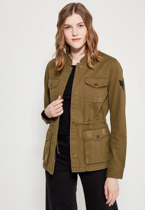 Куртка джинсовая Only. Цвет: хаки