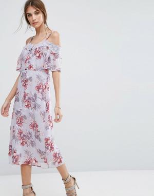 New Look Платье миди с вырезами на плечах и кружевной отделкой. Цвет: фиолетовый