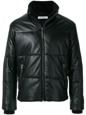 Стеганая кожаная куртка Dirk Bikkembergs. Цвет: чёрный