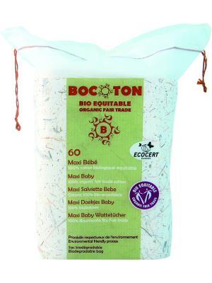 Bocoton Ватные Диски Прямоугольные  Maxi Baby , Упаковка 60 Шт.. Цвет: белый