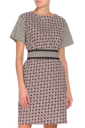 Полуприлегающее платье с поясом Max Mara. Цвет: коричневый