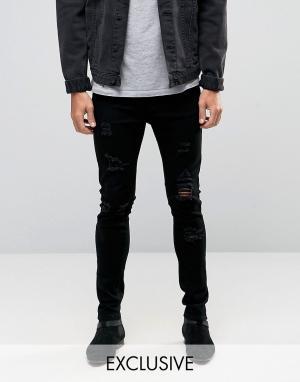 Liquor N Poker Черные зауженные джинсы с рваной отделкой. Цвет: черный