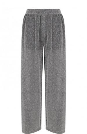 Широкие брюки с металлической нитью и эластичным поясом Mm6. Цвет: серый