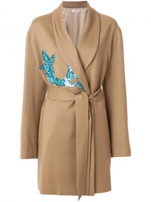 Украшенное пайетками пальто с запахом и поясом Attico. Цвет: телесный