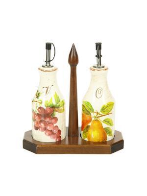Набор емкостей под масло/уксус (6*6*20,5) на деревянной подставке Sestesi. Цвет: молочный