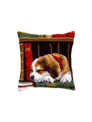 Набор для вышивания лицевой стороны наволочки Собака, спящая на книжной полке 40*40см Vervaco. Цвет: бежевый, красный, белый, зеленый, коричневый