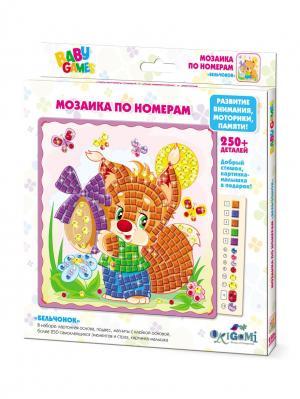 Origami. Мозаика по номерам  Бельчонок Origami. Цвет: светло-зеленый, оранжевый, светло-желтый