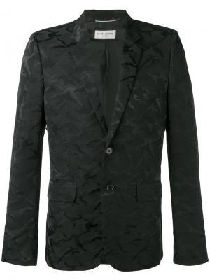 Пиджак с камуфляжным принтом Saint Laurent. Цвет: чёрный