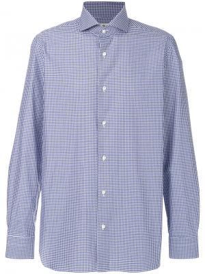 Рубашка в клетку Luigi Borrelli. Цвет: синий