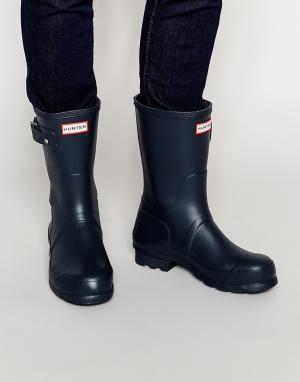 Hunter Короткие резиновые сапоги Original. Цвет: синий