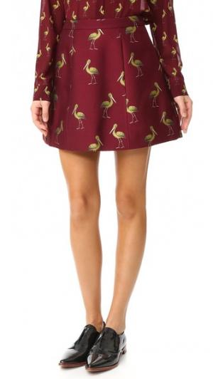 Структурированная юбка-трапеция Loran alice + olivia. Цвет: темно-бордовый
