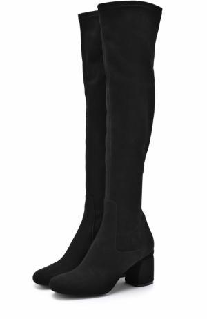 Замшевые сапоги на фигурном каблуке Baldan. Цвет: черный