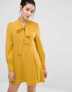 Sister jane Короткое приталенное платье с бантом-завязкой. Цвет: желтый