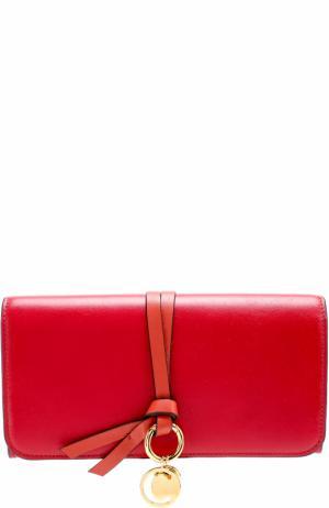 Кожаное портмоне с подвеской Chloé. Цвет: красный
