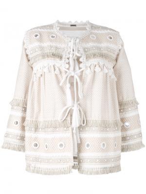 Блузка с отделкой кисточками Dodo Bar Or. Цвет: телесный