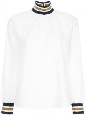 Рубашка с высоки воротником в полоску Guild Prime. Цвет: белый