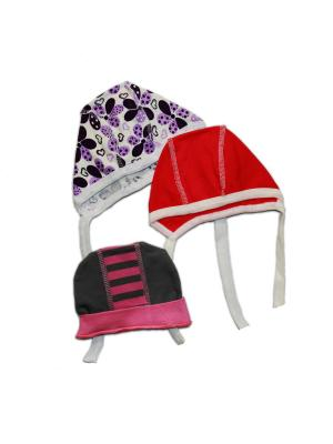 Комплект 3 пр. шапочка+чепчик 2 шт. КиСса. Цвет: серый, сиреневый, малиновый, розовый