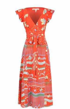 Приталенное мини-платье с ярким принтом Marc Jacobs. Цвет: оранжевый