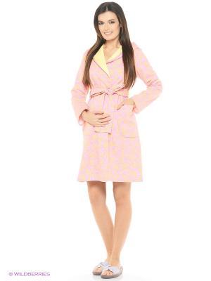 Халат женский для беременных и кормящих Hunny Mammy. Цвет: желтый, розовый