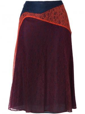 Джинсовая юбка с кружевной вставкой Tory Burch. Цвет: синий