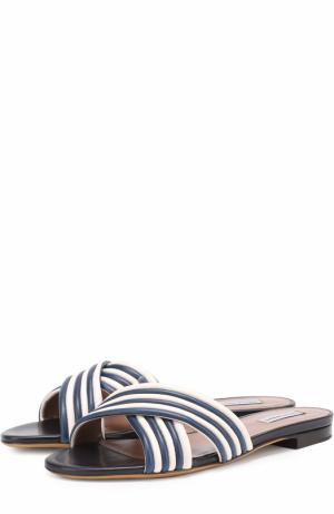 Кожаные шлепанцы с контрастной отделкой Tabitha Simmons. Цвет: синий