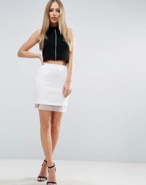 ASOS Мини‑юбка с отделкой из органзы. Цвет: белый