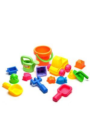 Набор : 15 игрушек для песочницы в сетке Gulliver. Цвет: желтый, оранжевый
