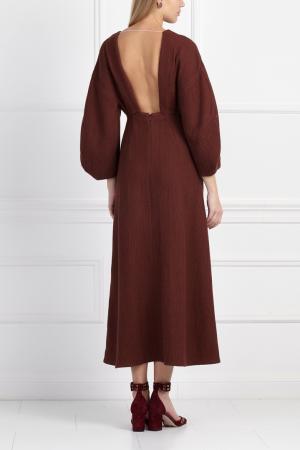 Хлопковое платье Masterpeace. Цвет: коричневый