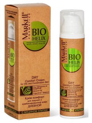 Bio-helix Крем-комфорт с муцином улитки для жирной и комбинированной кожи дневной, 50 мл. Markell. Цвет: белый