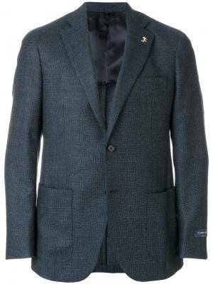 Меланжевый классический пиджак Tombolini. Цвет: синий
