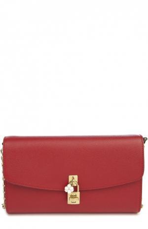 Кожаный клатч Dolce на цепочке & Gabbana. Цвет: красный