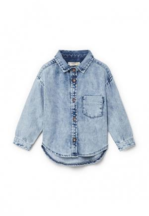Рубашка джинсовая Mango Kids. Цвет: голубой