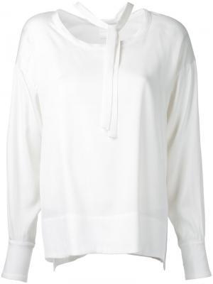 Блузка с завязками на шее Cityshop. Цвет: белый