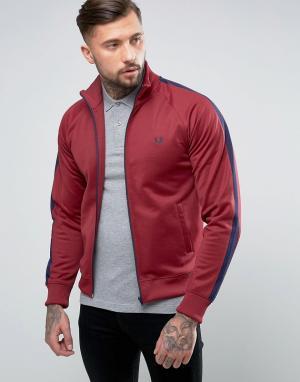 Fred Perry Темно-бордовая спортивная куртка с контрастными вставками. Цвет: красный