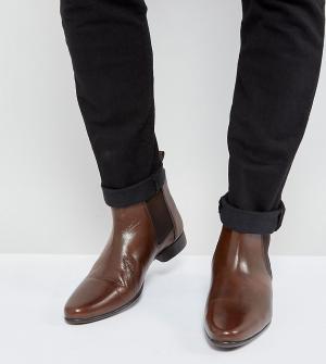 ASOS Коричневые кожаные ботинки челси для широкой стопы. Цвет: коричневый