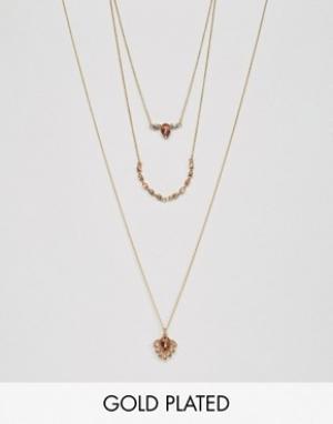 Johnny Loves Rosie Ярусное ожерелье. Цвет: розовый