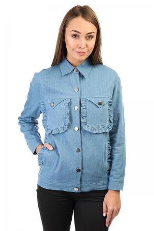 Куртка джинсовая женская  Ruffle Detail Oversize Denim With Patches Blue The White Pepper. Цвет: синий