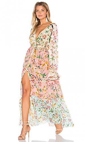 Макси платье cape HEMANT AND NANDITA. Цвет: беж