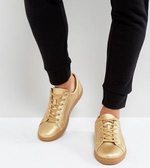 ASOS Золотистые кроссовки для широкой стопы с эффектом металлик. Цвет: золотой