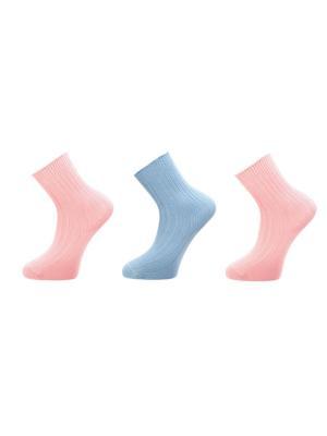 Хлопковые носки 3 пары BELLAVIA. Цвет: голубой, розовый
